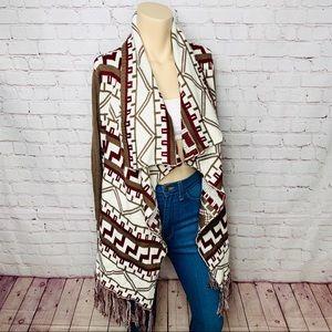 CHARLOTTE RUSSE Boho Cardigan Sweater w Fringe M